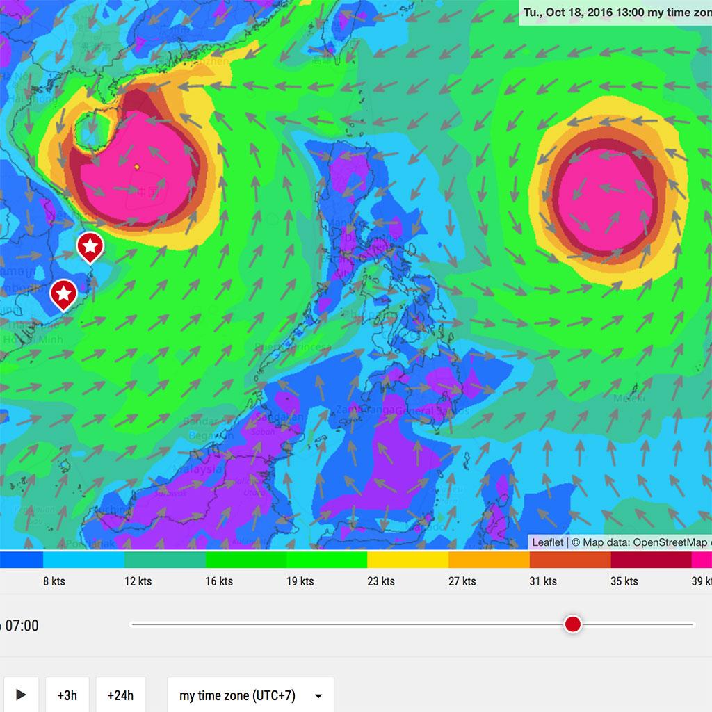 Прогноз погоды в Южно-Китайском море